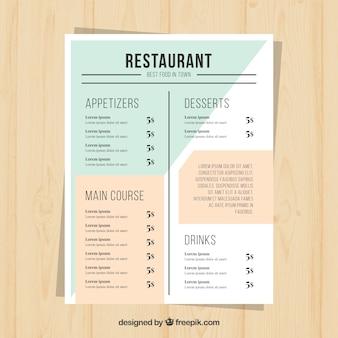 レストランメニュー、シンプルなスタイル