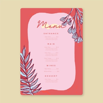 Restaurant menu template in colorful design