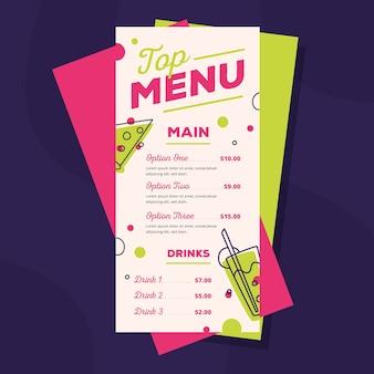 Шаблон меню ресторана красочный