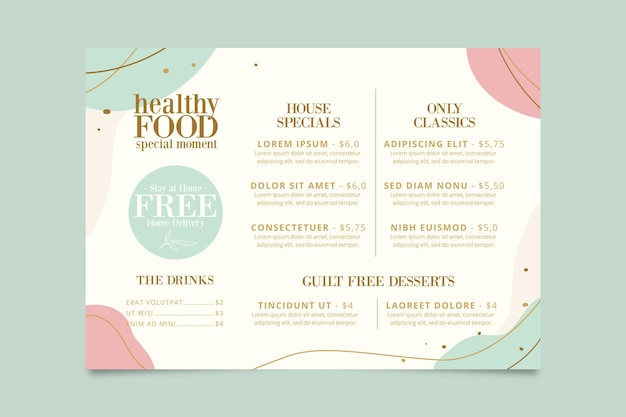 Restaurant menu template concept