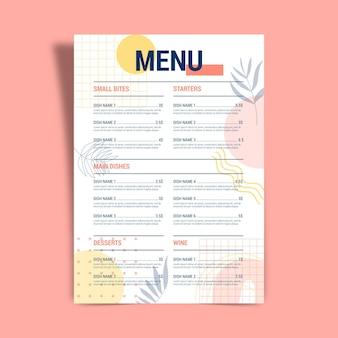 Дизайн шаблона меню ресторана