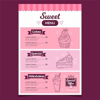 Restaurant menu template for digital platform