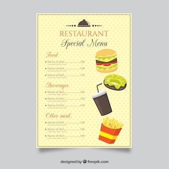 Restaurant menu template in flat style