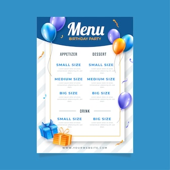 Шаблон меню ресторана для празднования дня рождения