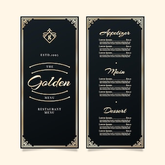 Restaurant menu template golden frames