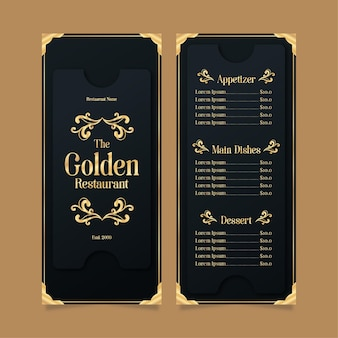 Restaurant menu template golden with black
