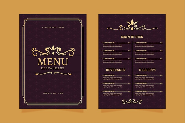 Restaurant menu template golden with violet