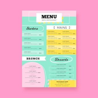 カラフルなデザインのレストランメニューテンプレート