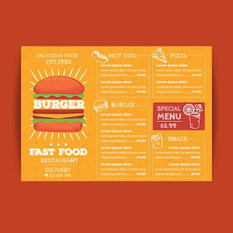 Restaurant menu template in orange tones with burger