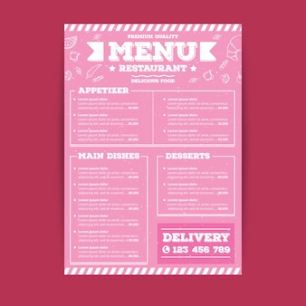 Restaurant menu template in pink tones