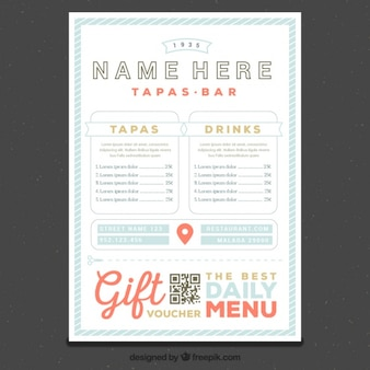 Restaurant menu template in retro style