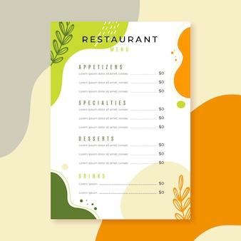 レストランメニューテンプレートスタイル