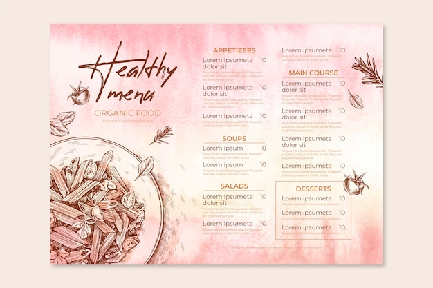 Restaurant menu template theme