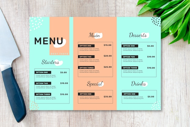 Restaurant menu template in two colours