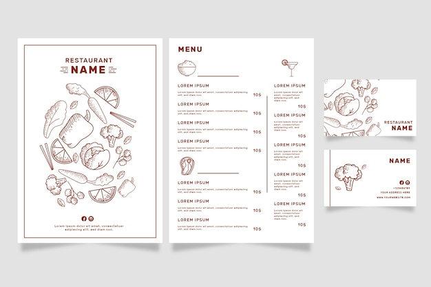 Restaurant menu template for vegan shop