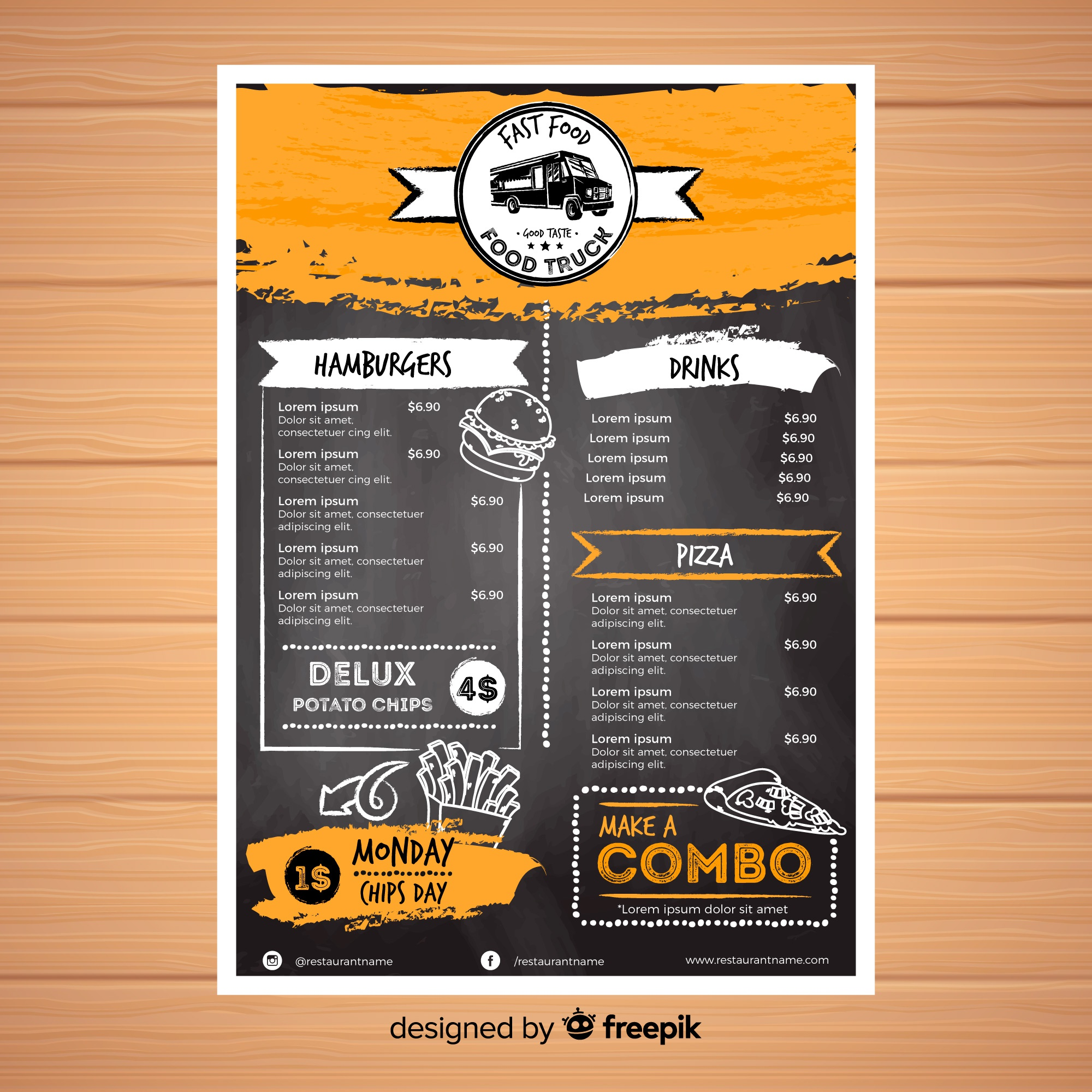 Restaurant menu template with chalkboard style