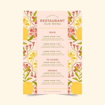Restaurant menu template with citrus