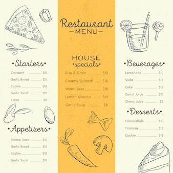 Restaurant menu template with different dishes