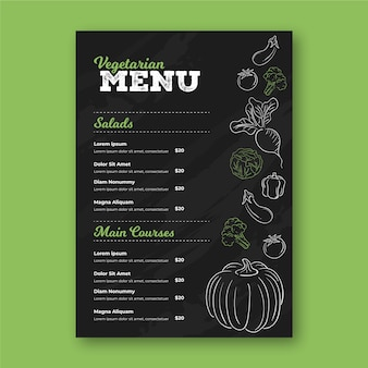 Restaurant menu template with drawings