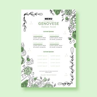Шаблон меню ресторана с нарисованными элементами