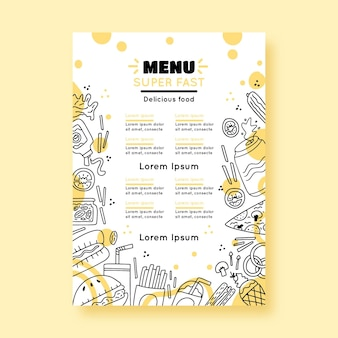 Restaurant menu template with drawn elements