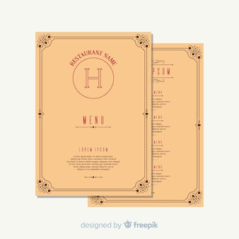 Restaurant menu template with elegant ornaments
