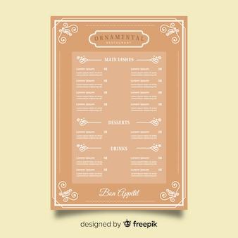 Restaurant menu template with elegant ornaments