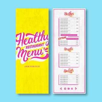 Modello di menu del ristorante con scritte fantasia