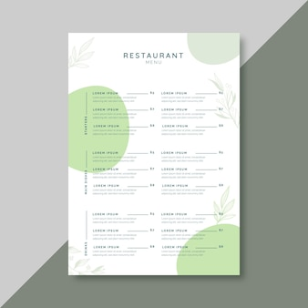 Restaurant menu template with floral ornaments