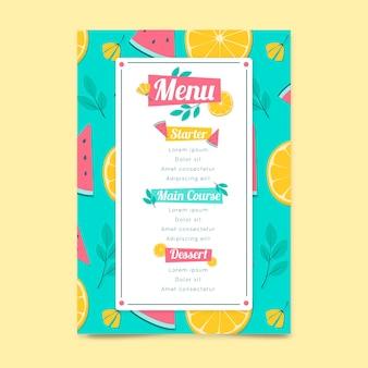 Modello di menu del ristorante con frutta