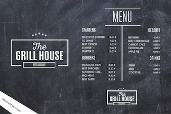 Restaurant Menu Template with Grunge Background