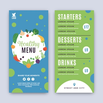 Restaurant menu template with healthy food