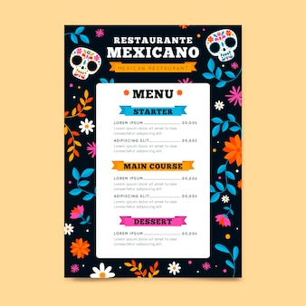 Restaurant menu template with mexican elements