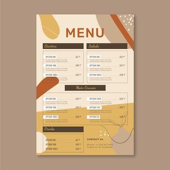 Modello di menu del ristorante con ornamenti naturali