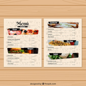 Restaurant menu template with photos