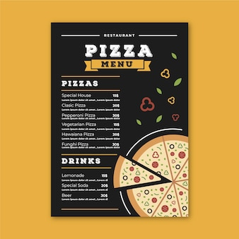 Restaurant menu template with pizza