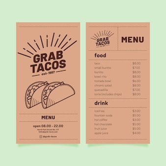 Restaurant menu template with tacos