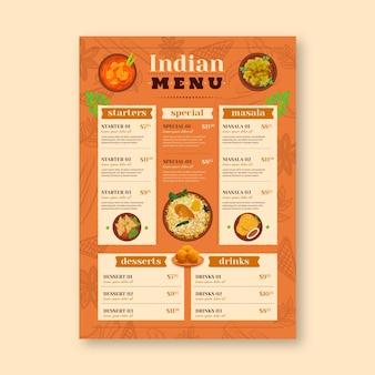 Modello di menu del ristorante con cibo indiano tradizionale