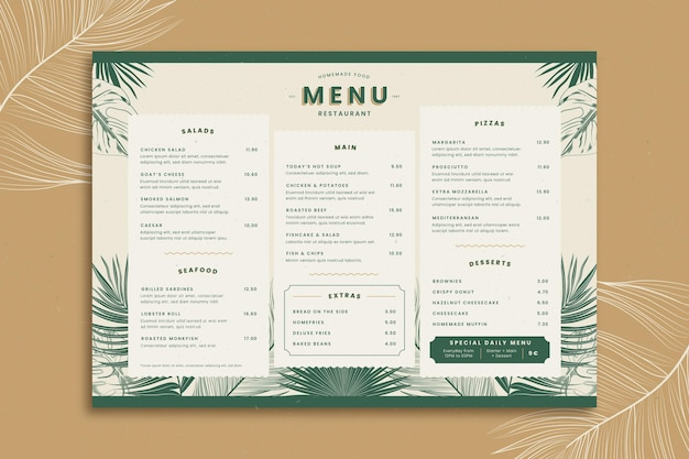 Restaurant menu template with tropical leaves