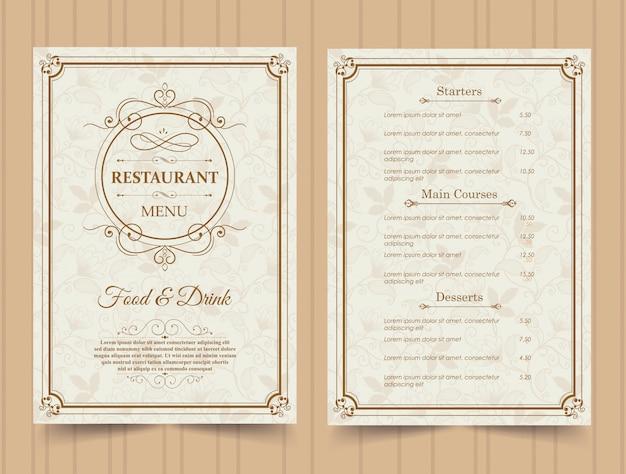 Шаблон меню ресторана.