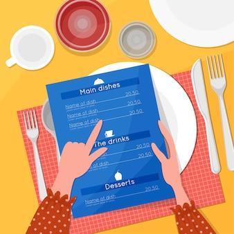レストランメニュー、上面図。女の子は手にメニューを持ち、カトラリー、皿、グラスをテーブルに置いています。