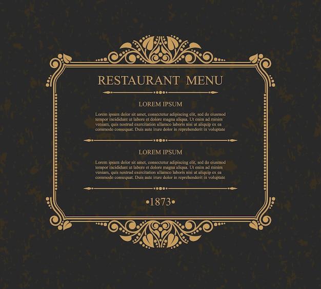 Элементы типографского дизайна меню ресторана, каллиграфический изящный шаблон,