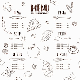 Restaurant menu vector illustration with elements of italian food