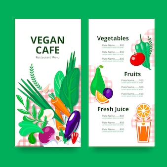 Restaurant menu for vegan or vegetarian.