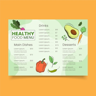 Restaurant menu for veggies healthy food