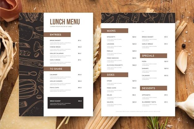 Restaurant menu above view