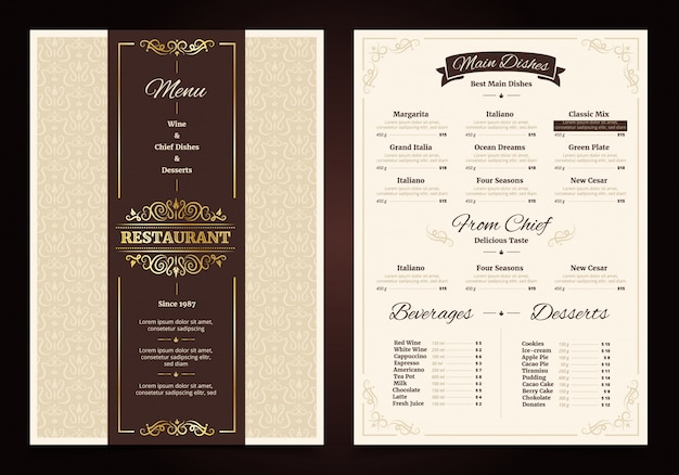 Restaurant menu vintage design with ornate frame and ribbon chef dishes beverages
