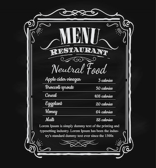 Restaurant menu vintage hand drawn blackboard frame label