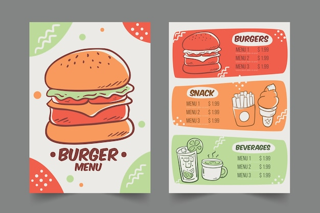 Restaurant menu with burgers template