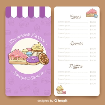 Restaurant menu with delicious desserts